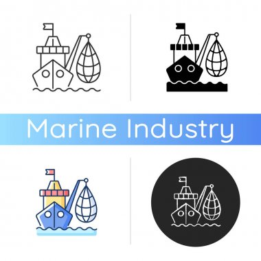 Industrial fishing icon. Selling fish and fish products. Commercial fishing industry. Overfishing endanger. Efficient catches. Linear black and RGB color styles. Isolated vector illustrations icon