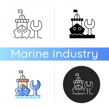 Ship maintenance and repair icon. Repairing floating vessels. Naval engineering. Keeping mechanical equipment going. Linear black and RGB color styles. Isolated vector illustrations icon