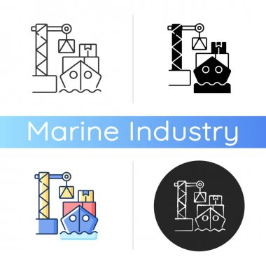 Cargo loading icon. Container ship. Vessel loading, unloading procedure. Sea freight transport. Cargo container stowage. Linear black and RGB color styles. Isolated vector illustrations icon