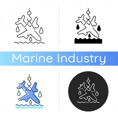 Plane salvage icon. Emergency evacuation. Sea rescue boat. Waterborne support. Marine salvage industry. Pollution prevention. Linear black and RGB color styles. Isolated vector illustrations icon