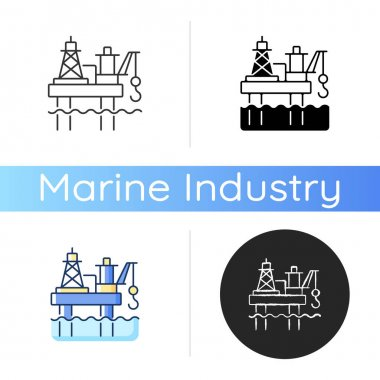 Offshore oil platform icon. Offshore drilling rig. Oil, petroleum and gas extraction deep underwater. World energy supply. Linear black and RGB color styles. Isolated vector illustrations icon