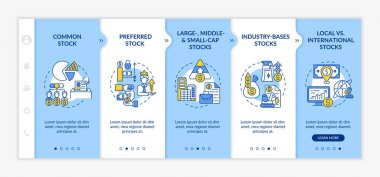 Investment stocks types onboarding vector template. Responsive mobile website with icons. Web page walkthrough 5 step screens. Common, small-cap, local assets color concept with linear illustrations