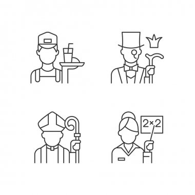 Social class type linear icons set. Working poor. Aristocratic elite. Society classification. Customizable thin line contour symbols. Isolated vector outline illustrations. Editable stroke icon