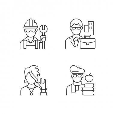 Social classification linear icons set. Blue and white collar workers. Classes in society. Customizable thin line contour symbols. Isolated vector outline illustrations. Editable stroke icon