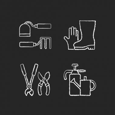 Gardening supplies chalk white icons set on black background. Hoe and fork hoes. Gloves and boots. Clippers, secateurs. Watering can. Cultivating, weeding. Isolated vector chalkboard illustrations icon