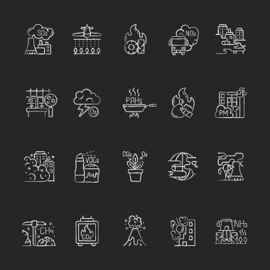 Air pollution chalk white icons set on black background. Fighting pollution disaster problems. People damaging own home. Humanity problem. Isolated vector chalkboard illustrations icon