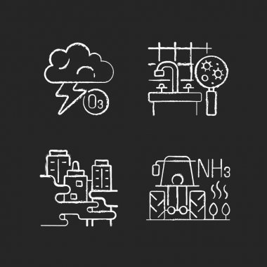 Air pollution chalk white icons set on black background. Farming equipment and materials are polluting planet environment. Isolated vector chalkboard illustrations icon