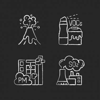 Air pollution chalk white icons set on black background. Household product with dangerous components inside. Volcanic eruption disaster. Isolated vector chalkboard illustrations icon