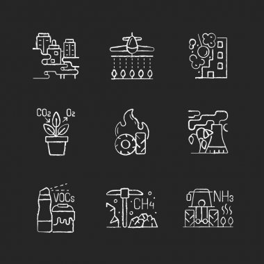 Air pollution chalk white icons set on black background. People damaging planet environment and atmosphere. Rubish increasing process. Isolated vector chalkboard illustrations icon