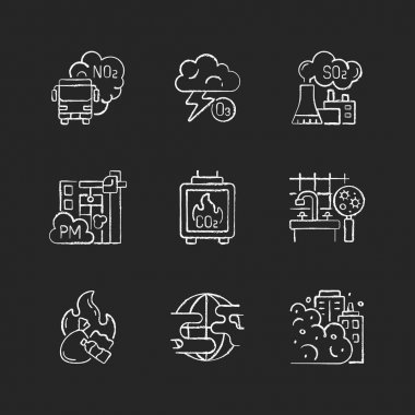 Air pollution chalk white icons set on black background. Dangerous and toxic dust in air. Health problems because of environment pollution. Isolated vector chalkboard illustrations icon