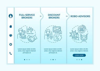 Professional trader types onboarding vector template. Responsive mobile website with icons. Web page walkthrough 3 step screens. Licensed brokers, robo-advisors color concept with linear illustrations