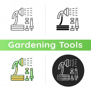 Garden hose with hose nozzles set icon. Hosepipe with sprayer nozzle. Watering tasks. Garden equipment. Continuous spraying. Linear black and RGB color styles. Isolated vector illustrations icon