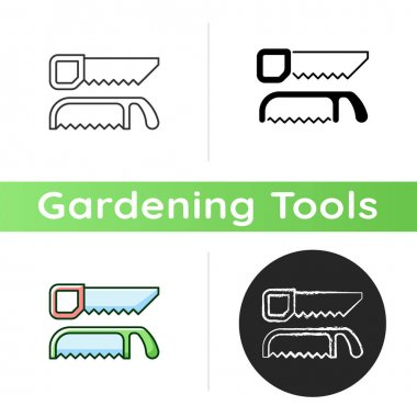 Saws icon. Cutting fresh and dry wood. Handsaw. Blade with sharp teeth. Pruning garden plants. Trimming live shrubs and trees. Linear black and RGB color styles. Isolated vector illustrations icon