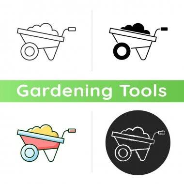Wheelbarrow icon. Small opencart. Hand-propelled vehicle. Construction industry. Large shrubs, stones, weeds transportation. Linear black and RGB color styles. Isolated vector illustrations icon
