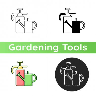 Watering can and hand sprayer icon. Healthy garden maintenance. Fertilizers, herbicides application. Horticultural purposes. Linear black and RGB color styles. Isolated vector illustrations icon