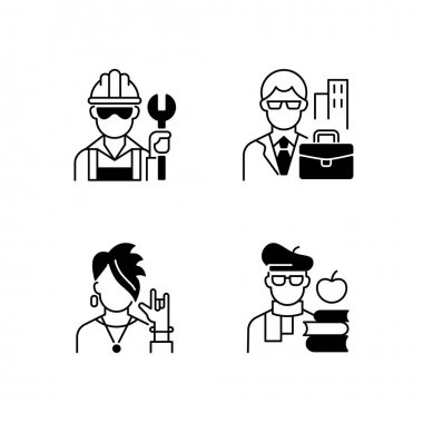Social classification black linear icons set. Blue and white collar workers. Subculture group. Intelligentsia class. Classes in society. Glyph contour symbols. Vector isolated outline illustrations icon