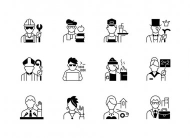 Social status black linear icons set. Lower and upper class. Political elite. Intelligentsia, aristocratic group. Computer expert. Glyph contour symbols. Vector isolated outline illustrations icon