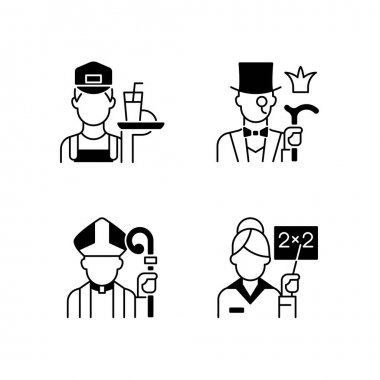 Social class type black linear icons set. Working poor. Aristocratic elite. Clergy, pink collar. Society classification. Glyph contour symbols. Vector isolated outline illustrations icon