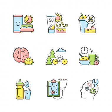 Healthy habits development RGB color icons set. Sleep hygiene. Skin protection. No added sugar. Practice mindfulness. Outdoor activity. Healthy breakfast. Drink water. Isolated vector illustrations icon