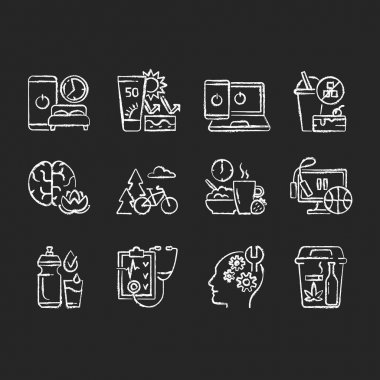 Healthy activity RGB color icons set. Quit bad habit. Learn new skill. Regular health checkup. Drink water. Exercise break. Healthy breakfast. Outdoor activity. Isolated vector illustrations icon