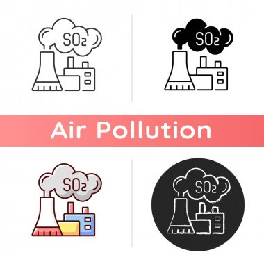 Power plant icon. Largest source of SO2 in atmosphere is burning of fossil fuels by power plants. Linear black and RGB color styles. Isolated vector illustrations icon