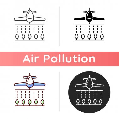 Pesticides icon. Dangerous toxic substances that are meant to control pests but pollutes ground. Linear black and RGB color styles. Isolated vector illustrations icon