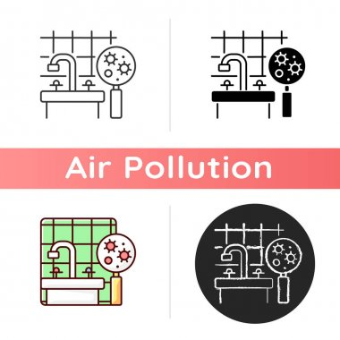 Mold icon. Molds and bacteria can produce dangerous toxic microscopic airborne particles into air. Linear black and RGB color styles. Isolated vector illustrations icon