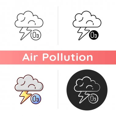 Lightning icon. Lightning significantly increases regional ozone and other gases that affect air chemistry. Linear black and RGB color styles. Isolated vector illustrations icon