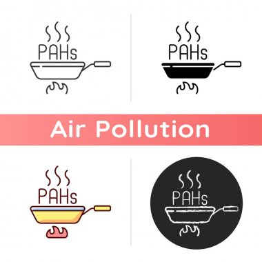 Frying icon. Deep frying involves heating ingredients and creating unhealthy air pollutants in process. Linear black and RGB color styles. Isolated vector illustrations icon