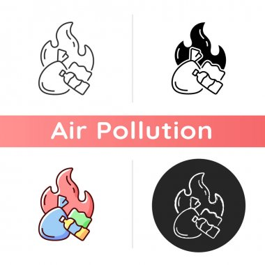 Burning garbage icon. Pollutants from backyard burning of trash are released primarily into air. Linear black and RGB color styles. Isolated vector illustrations icon