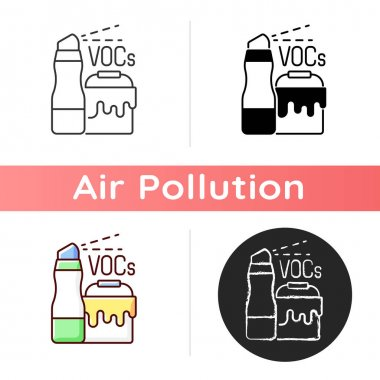 Household products icon. Dangerous chemicals pollutting planet environment. Cleaning earth from rubish. Linear black and RGB color styles. Isolated vector illustrations icon