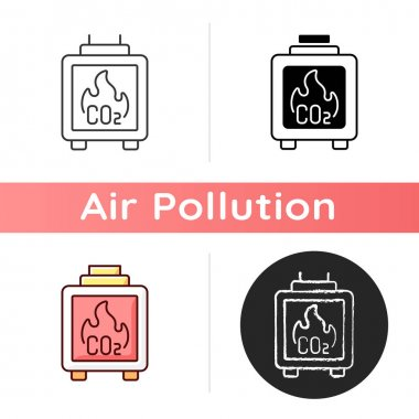 Residential wood burning icon. Wood burning oxygen from atmosphere. Greenhouse gases increasing. Linear black and RGB color styles. Isolated vector illustrations icon