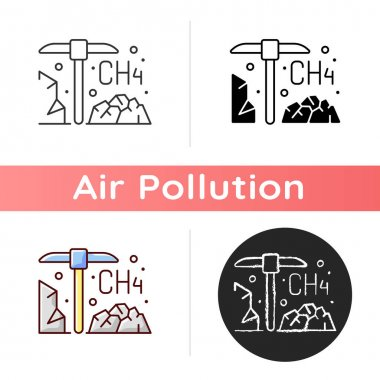 Coal mining icon. Methane emissions from coal mines could do damage to earth atmosphere and air quality. Linear black and RGB color styles. Isolated vector illustrations icon