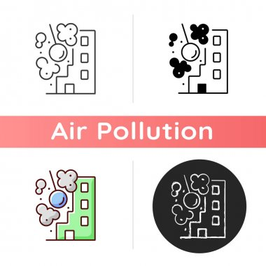 Onstruction sites icon. Construction and demolition operations contribute to windblown dust problems. Linear black and RGB color styles. Isolated vector illustrations icon