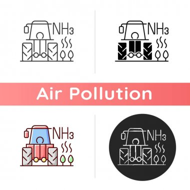 Farming icon. Agricultural air pollution comes from both farm equipment and farming process itself. Linear black and RGB color styles. Isolated vector illustrations icon