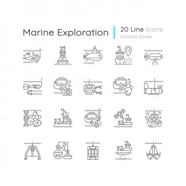 Marine exploration linear icons set. Increasing knowledge of marine animals. Discovering world nature. Customizable thin line contour symbols. Isolated vector outline illustrations. Editable stroke icon