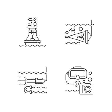 Marine exploration linear icons set. Weather buoy system. Plankton net equipment. Marine magnetometer. Customizable thin line contour symbols. Isolated vector outline illustrations. Editable stroke icon