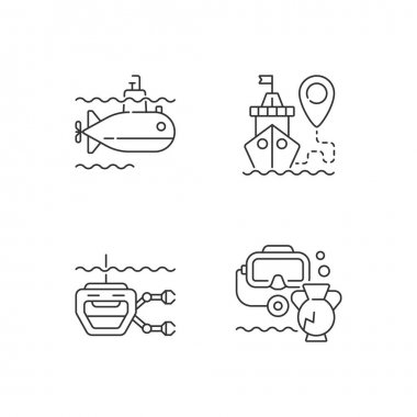 Marine exploration linear icons set. Underwater archaeology tools. Remotely operated underwater vehicle. Customizable thin line contour symbols. Isolated vector outline illustrations. Editable stroke icon