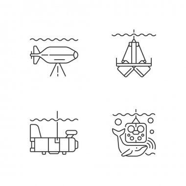 Marine exploration linear icons set. Underwater inspection devices and equipment. Research vessel. Customizable thin line contour symbols. Isolated vector outline illustrations. Editable stroke icon