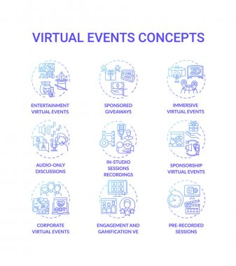 Virtual events concept icons set. Live stream idea thin line RGB color illustrations. Audio discussions. Statistics, report. Calculating ROI. Online networking tool. Vector isolated outline drawings icon