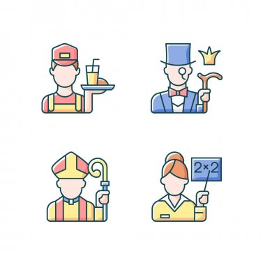 Social class type RGB color icons set. Working poor. Aristocratic elite. Clergy, pink collar. People of varios social classification, different group members. Isolated vector illustrations icon