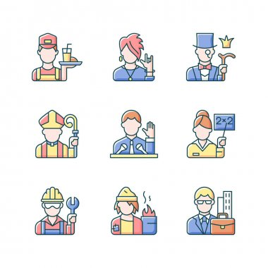 Social class RGB color icons set. Working poor. Subculture group. Aristocratic elite. Clergy status. White, blue, pink collar workers. People of social classification. Isolated vector illustrations icon