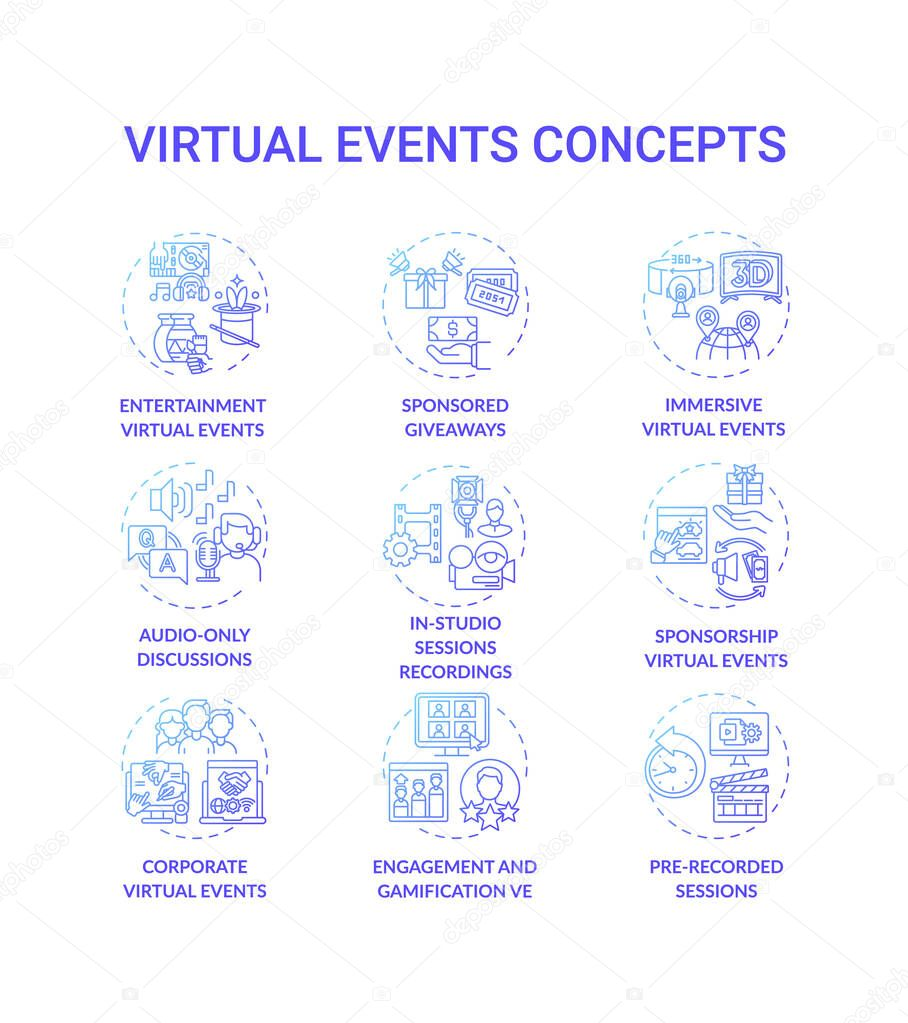 Virtual events concept icons set icon