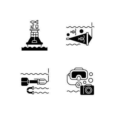 Marine exploration black linear icons set. Weather buoy system. Plankton net equipment. Marine magnetometer. Underwater photography. Glyph contour symbols. Vector isolated outline illustrations icon