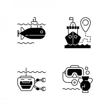 Marine exploration black linear icons set. Underwater archaeology tools. Ship tracking system. Remotely operated underwater vehicle. Glyph contour symbols. Vector isolated outline illustrations icon