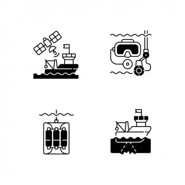 Marine exploration black linear icons set. Taking water sampler from ocean or sea with use of special equipment. Nautical industry. Glyph contour symbols. Vector isolated outline illustrations icon