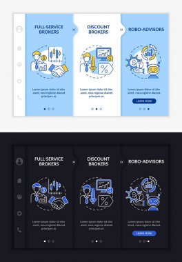 Licensed broker kinds onboarding vector template. Responsive mobile website with icons. Web page walkthrough 3 step screens. Practiced, AI advisors night and day mode concept with linear illustrations