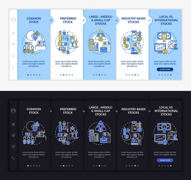 Assets types onboarding vector template. Responsive mobile website with icons. Web page walkthrough 5 step screens. Preferred, industrial stocks night and day mode concept with linear illustrations