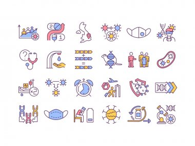 Virus mutations RGB color icons set. Different types of illness mutating around all world countries. Dealing with corona virus pandemia. Isolated vector illustrations icon