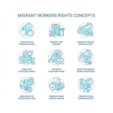 Migrant worker right blue concept icons set. Limitation of working hours. Project tied. Immigrant labor idea thin line RGB color illustrations. Vector isolated outline drawings. Editable stroke icon